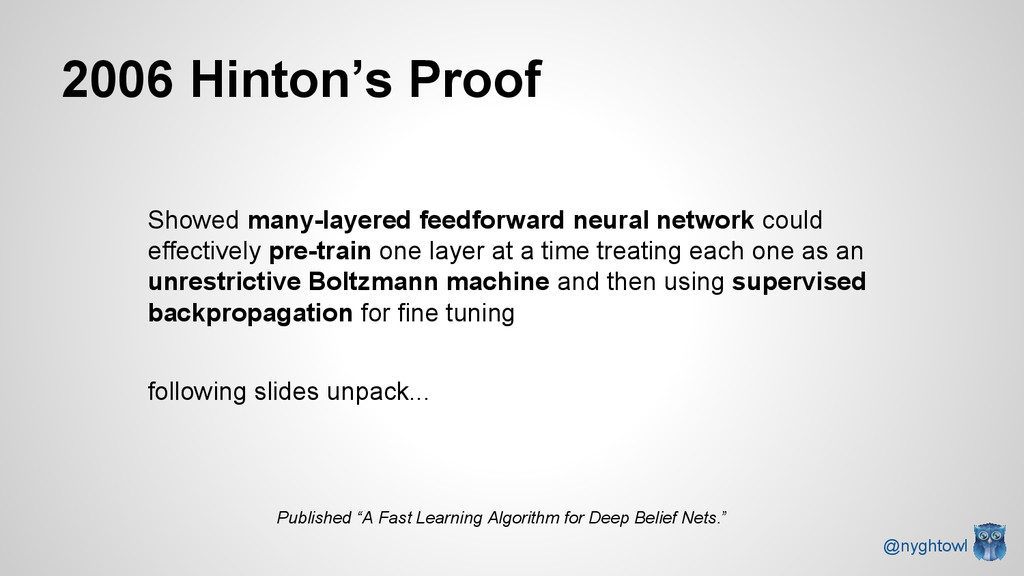2006 Hinton's Proof Showed many-layered feedfor...