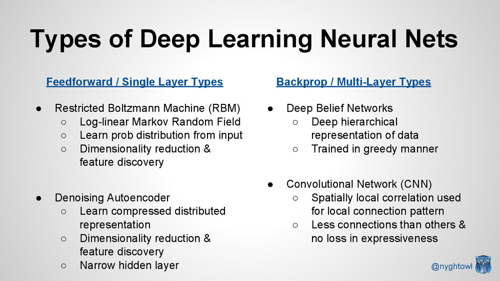 Types of Deep Learning Neural Nets ● Restricted...