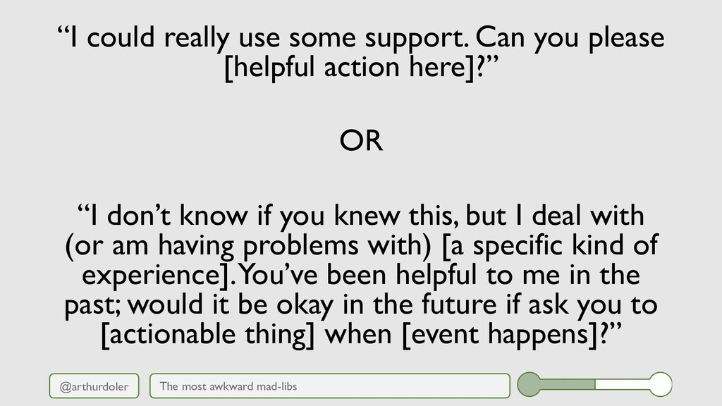 """@arthurdoler """"I could really use some support. ..."""