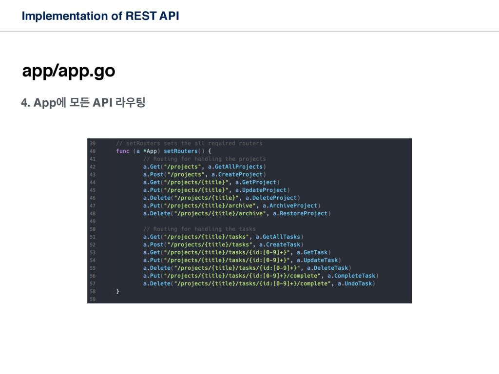 Implementation of REST API app/app.go 4. Appী ݽ...