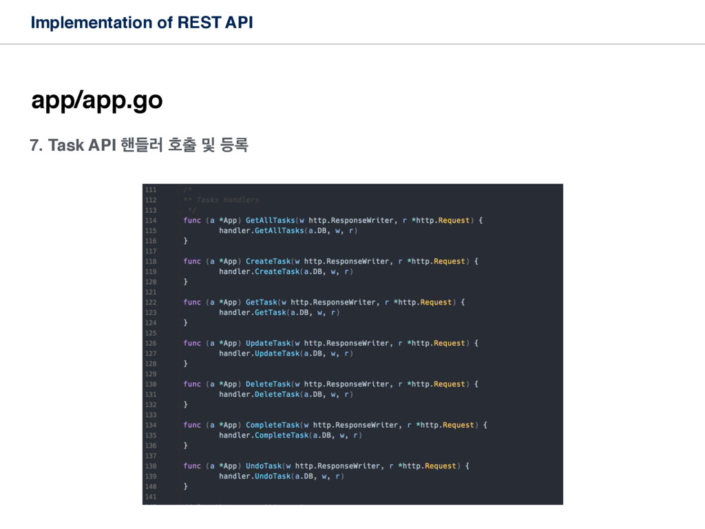 Implementation of REST API app/app.go 7. Task A...