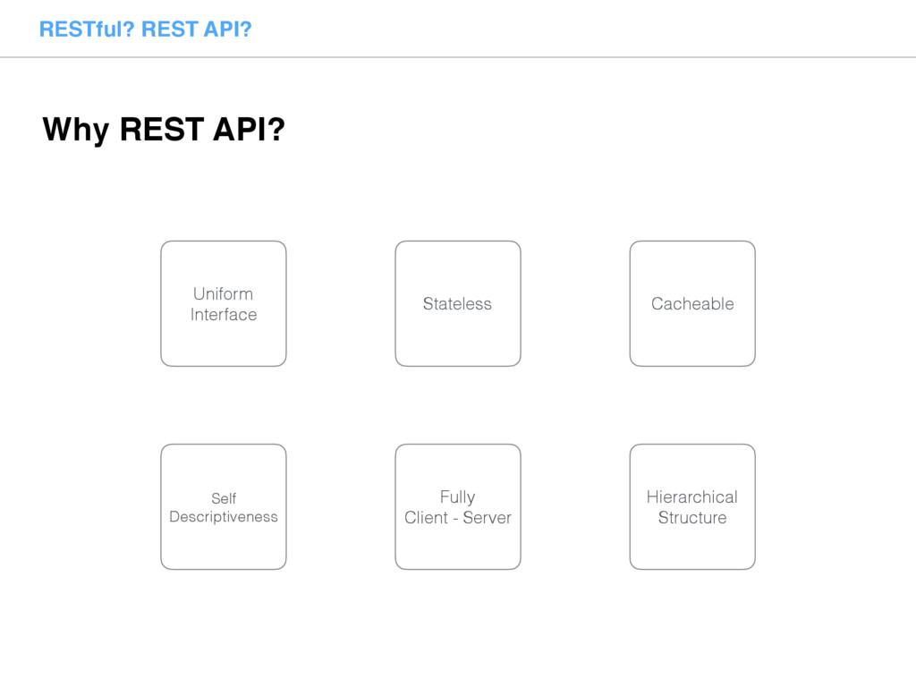 RESTful? REST API? Why REST API? Stateless Cach...