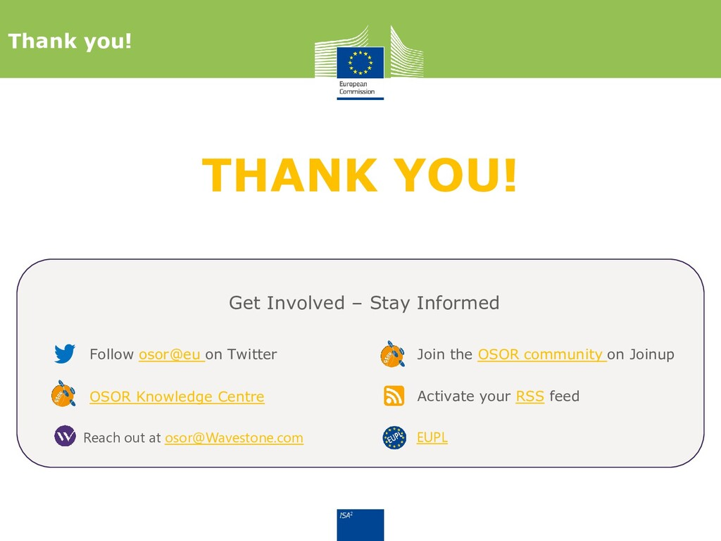 THANK YOU! Thank you! Follow osor@eu on Twitter...