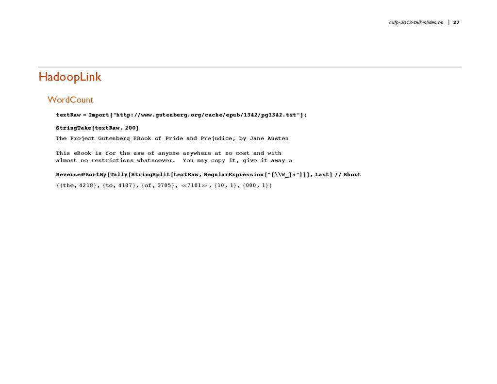 """HadoopLink WordCount textRaw = Import@""""http:êêw..."""