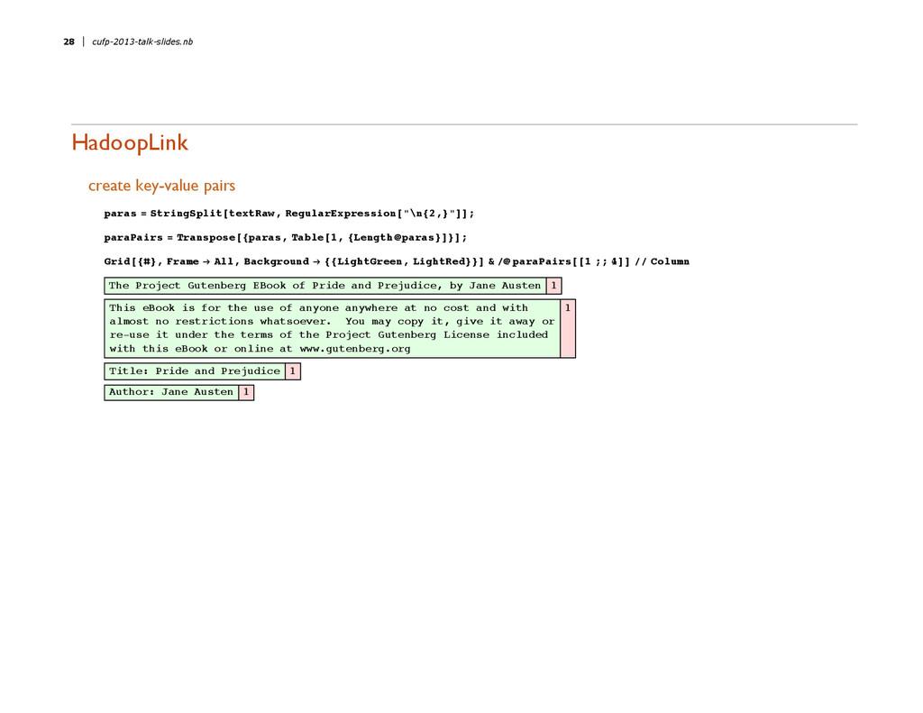HadoopLink create key-value pairs paras = Strin...