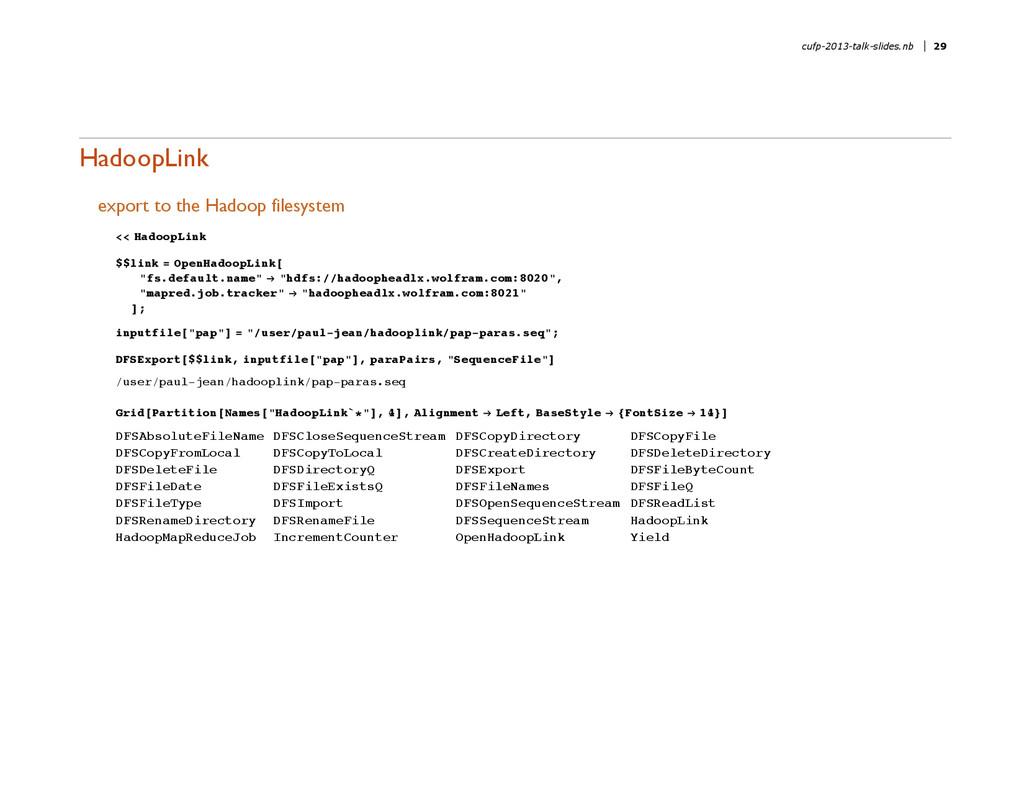 HadoopLink export to the Hadoop filesystem << H...