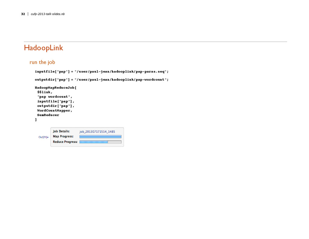 "HadoopLink run the job inputfile@""pap""D = ""êuse..."