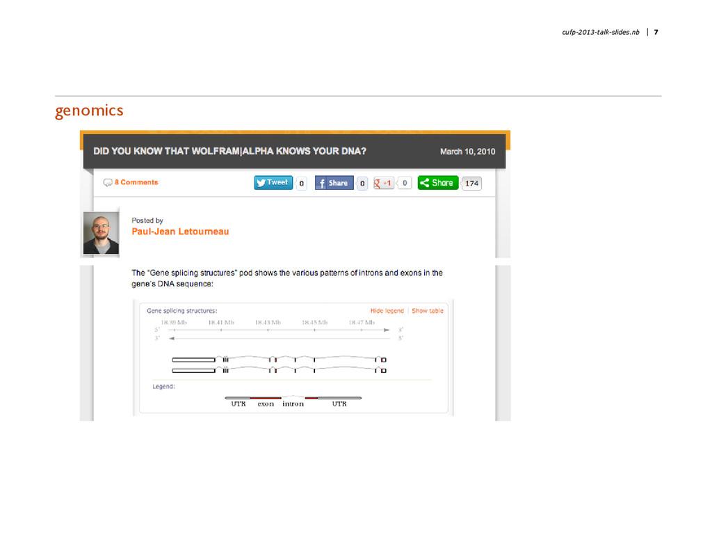 genomics cufp-2013-talk-slides.nb 7