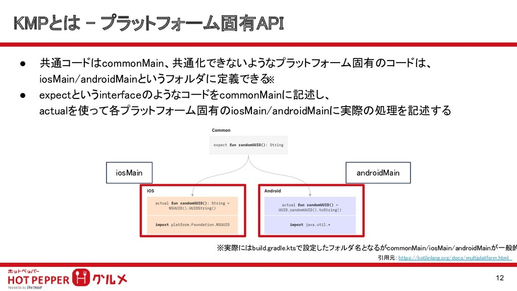 KMPとは - プラットフォーム固有API 12 ● 共通コードはcommonMain、共通...