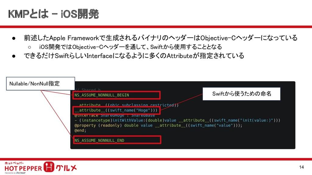 ● 前述したApple Frameworkで生成されるバイナリのヘッダーはObjective-...