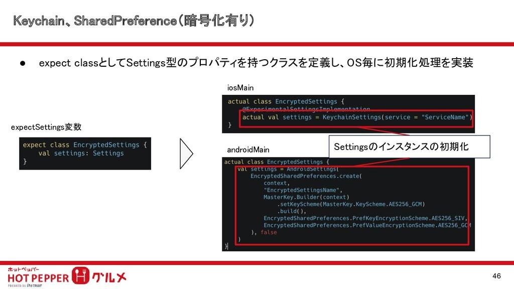Keychain、SharedPreference(暗号化有り) ● expect clas...