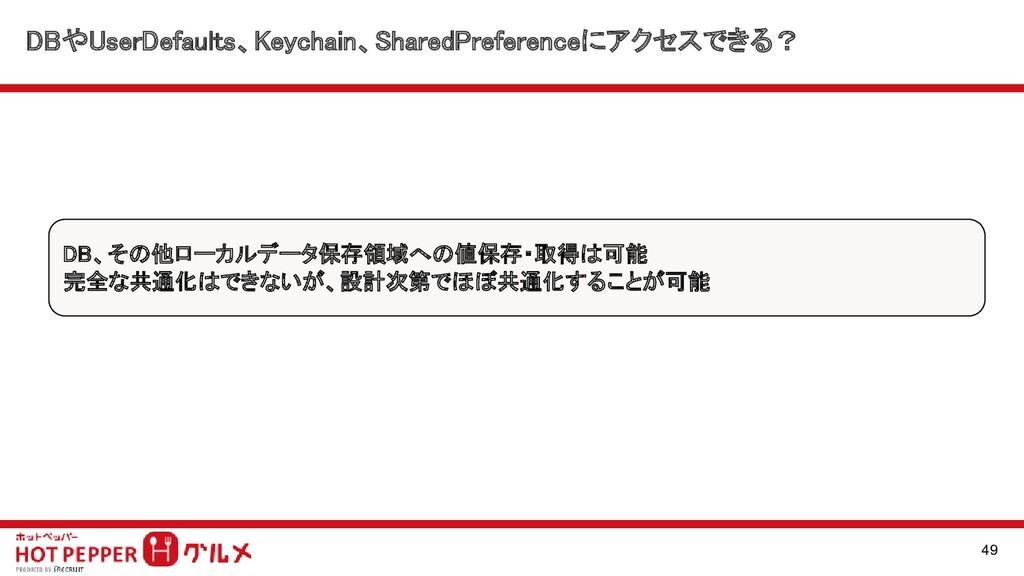 DBやUserDefaults、Keychain、SharedPreferenceにアクセスで...