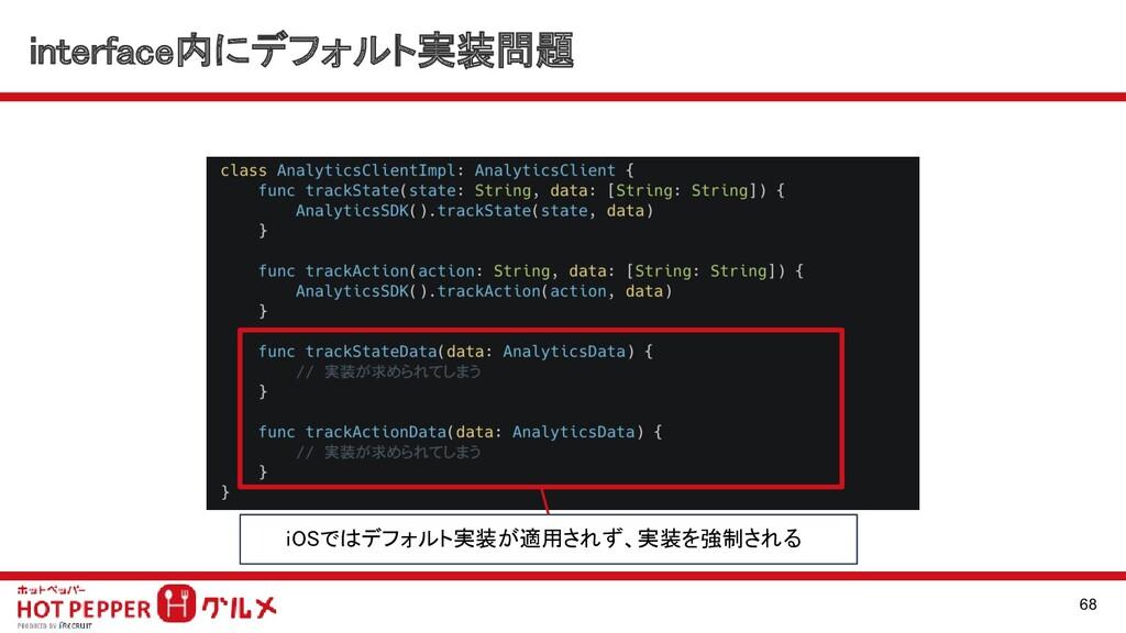 interface内にデフォルト実装問題 68 iOSではデフォルト実装が適用されず、実装を...