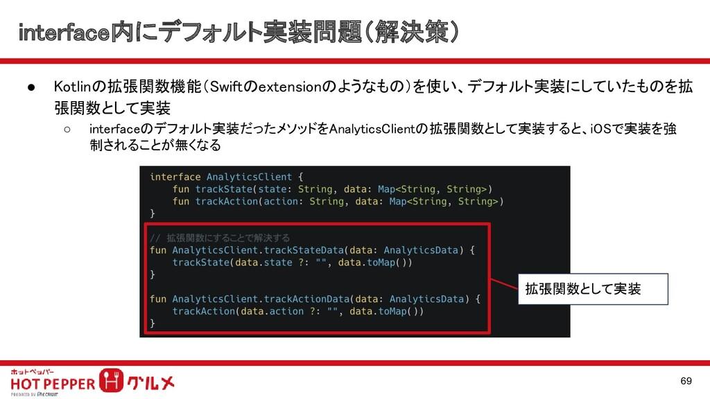 interface内にデフォルト実装問題(解決策) ● Kotlinの拡張関数機能(Swif...