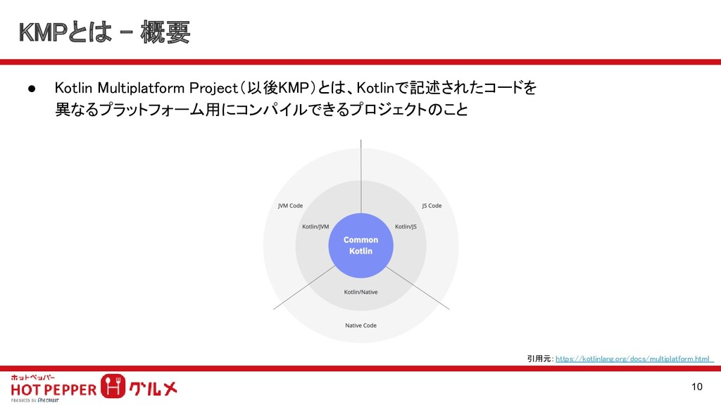 KMPとは - 概要 ● Kotlin Multiplatform Project(以後KM...