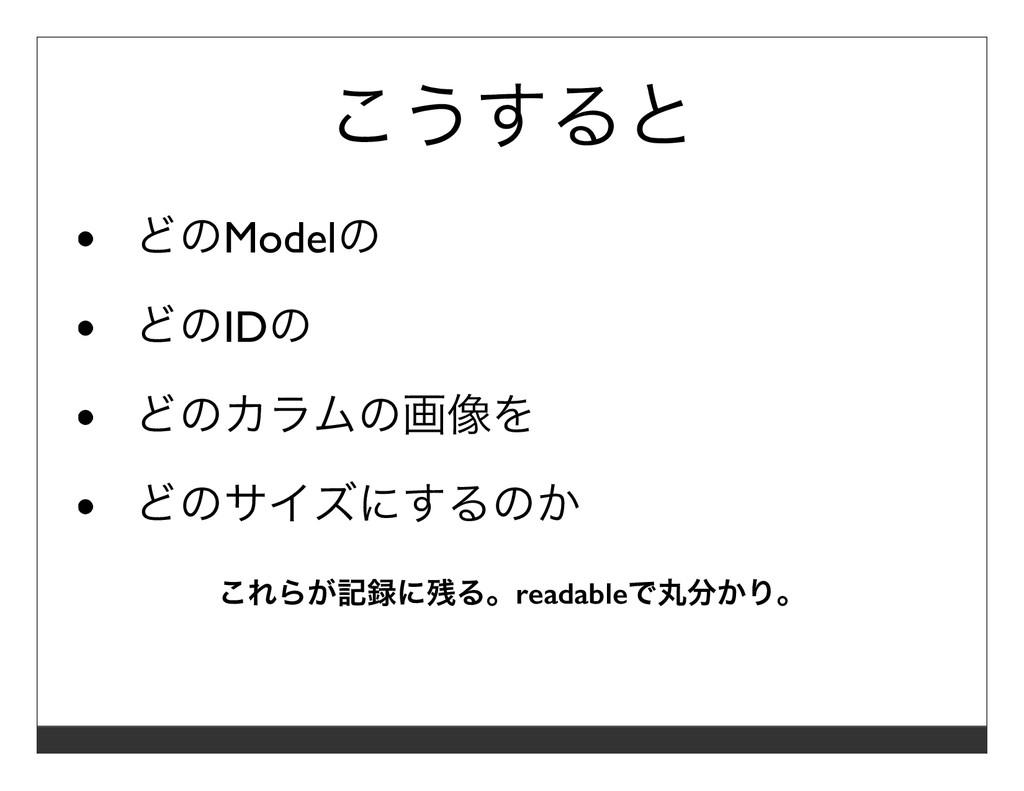 こうすると どのModelの どのIDの どのカラムの画像を どのサイズにするのか これらが記...