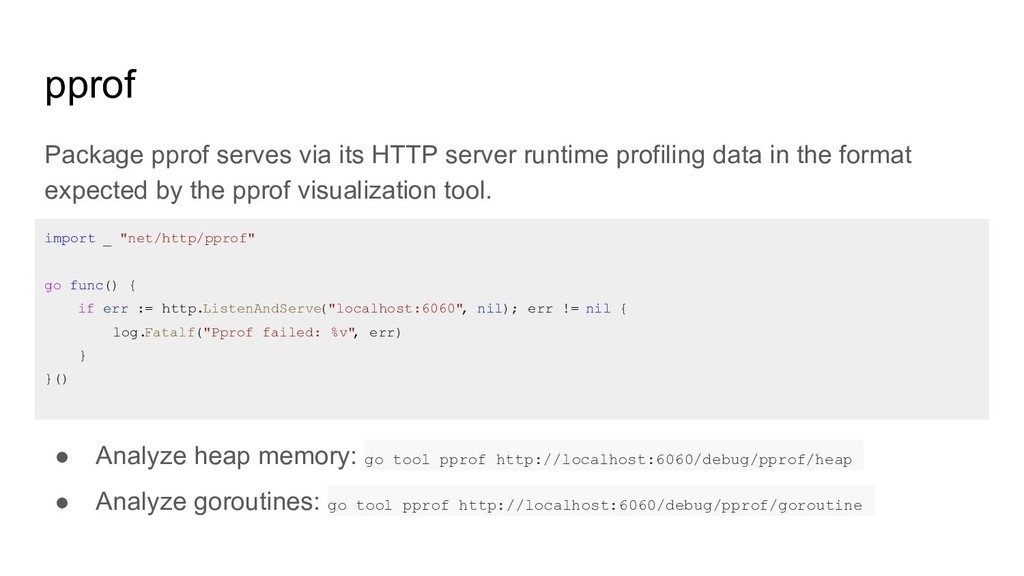 pprof Package pprof serves via its HTTP server ...