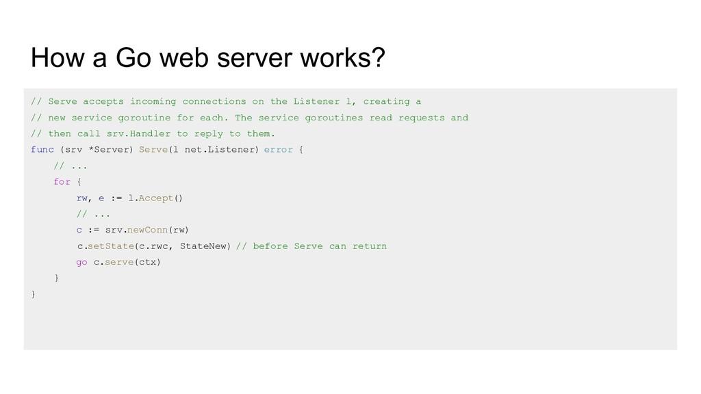 How a Go web server works? // Serve accepts inc...