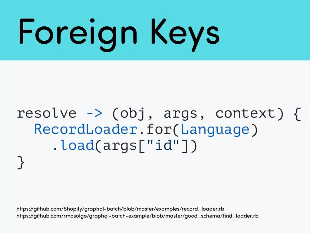 Foreign Keys resolve -> (obj, args, context) { ...
