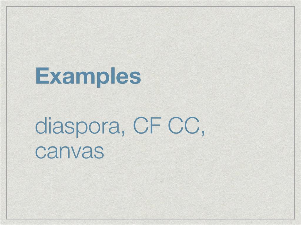 Examples ! diaspora, CF CC, canvas