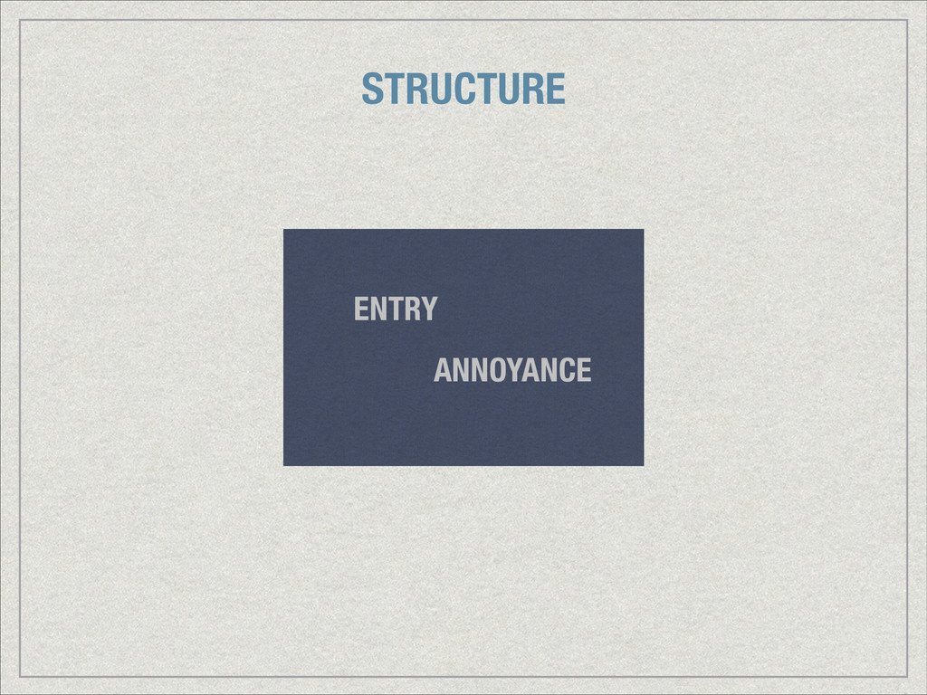 ANNOYANCE ENTRY STRUCTURE