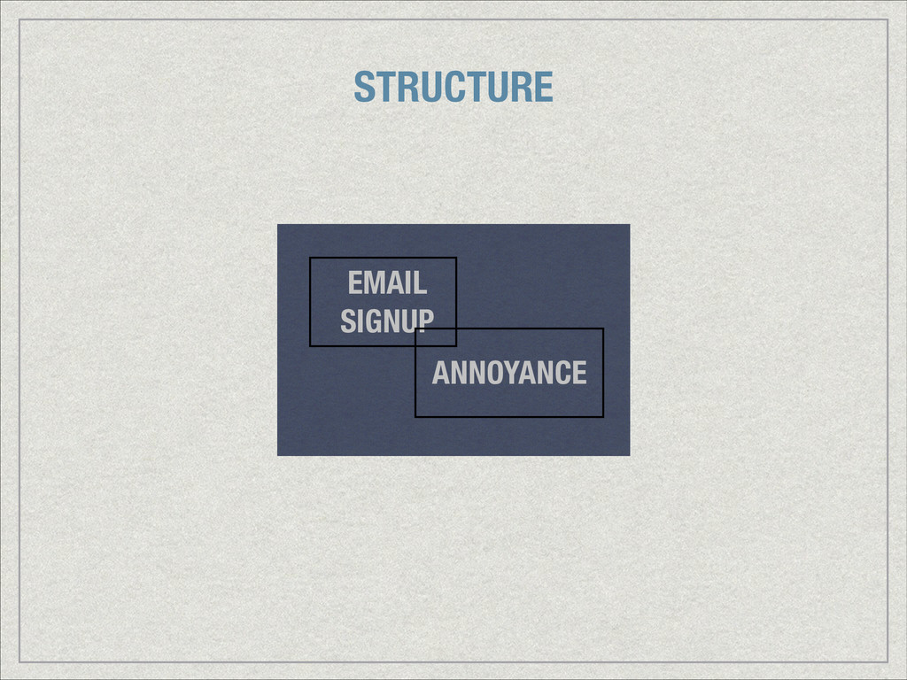 ANNOYANCE EMAIL SIGNUP STRUCTURE