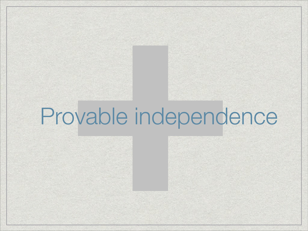 + Provable independence