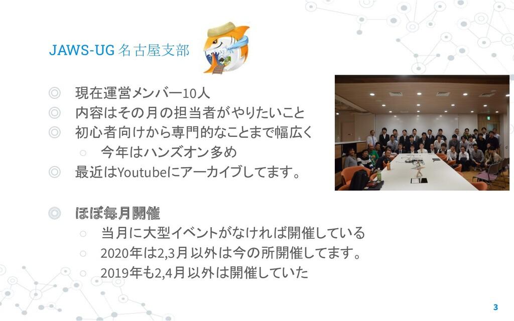 JAWS-UG 名古屋支部 ◎ 現在運営メンバー10人 ◎ 内容はその月の担当者がやりたいこと...