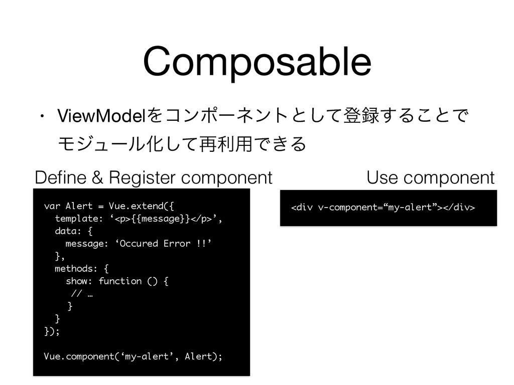Composable • ViewModelΛίϯϙʔωϯτͱͯ͠ొ͢Δ͜ͱͰ ϞδϡʔϧԽ...
