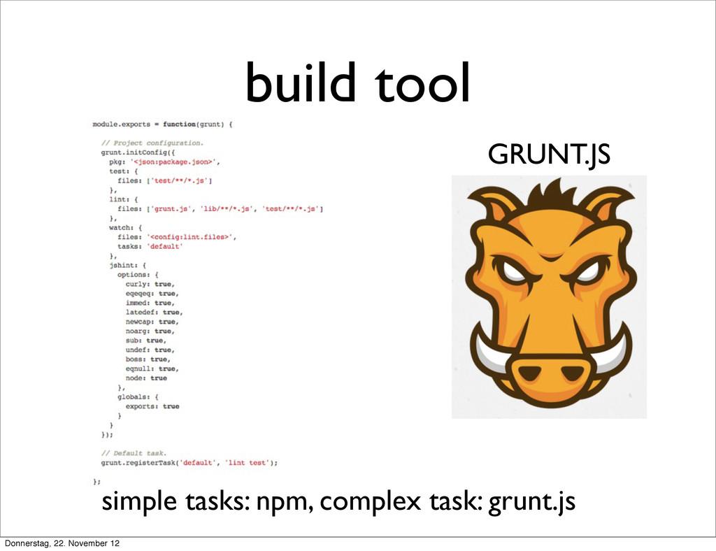build tool GRUNT.JS simple tasks: npm, complex ...