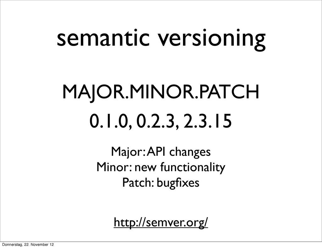 semantic versioning MAJOR.MINOR.PATCH 0.1.0, 0....