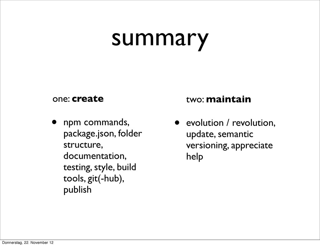 summary one: create • npm commands, package.jso...