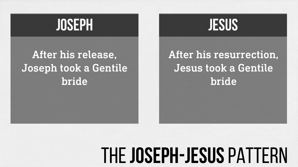 After his release, Joseph took a Gentile bride ...