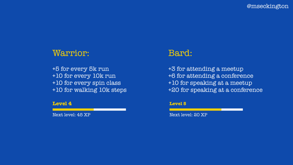 Warrior: +5 for every 5k run +10 for every 10k ...