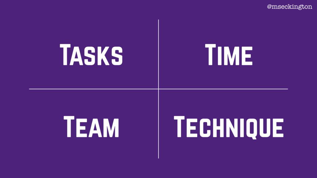 Tasks Team Technique Time @mseckington