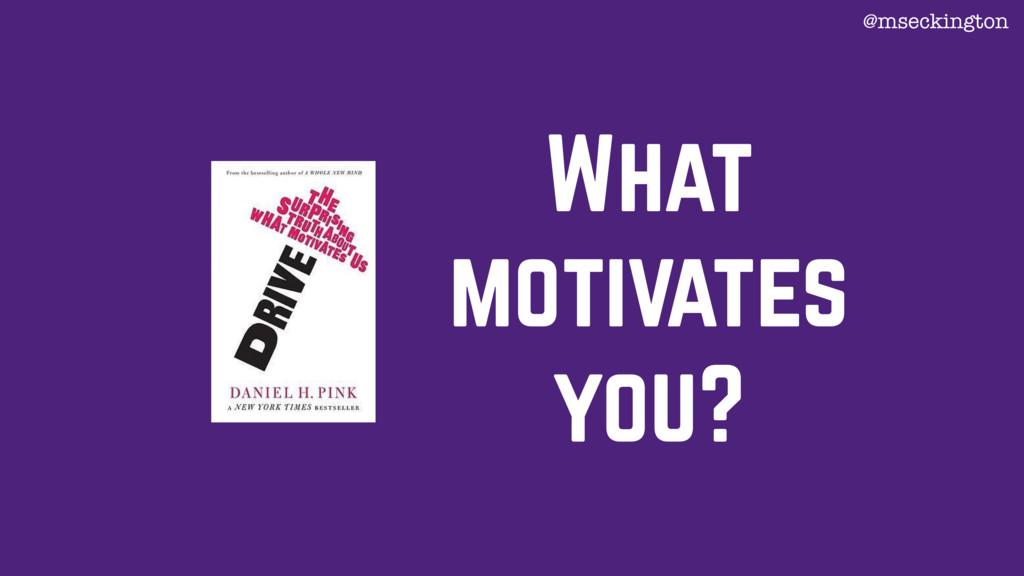What motivates you? @mseckington