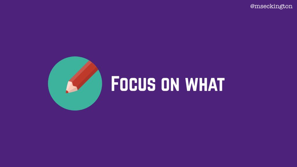 Focus on what @mseckington