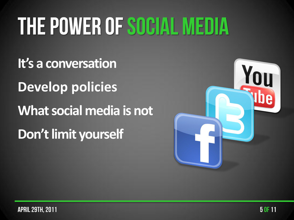 It's a conversation Develop policies What socia...