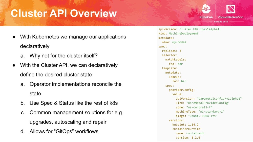 Cluster API Overview ● With Kubernetes we manag...