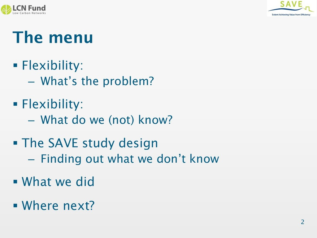 The menu § Flexibility: – What's the problem? §...