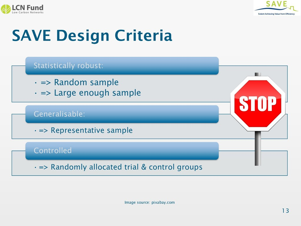 SAVE Design Criteria 13 • => Random sample • =>...