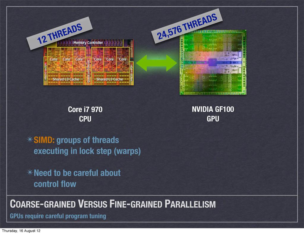 GPUs require careful program tuning COARSE-GRAI...