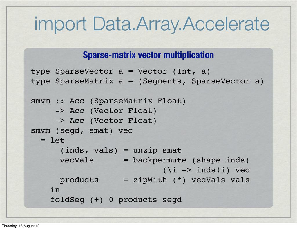 import Data.Array.Accelerate Sparse-matrix vect...