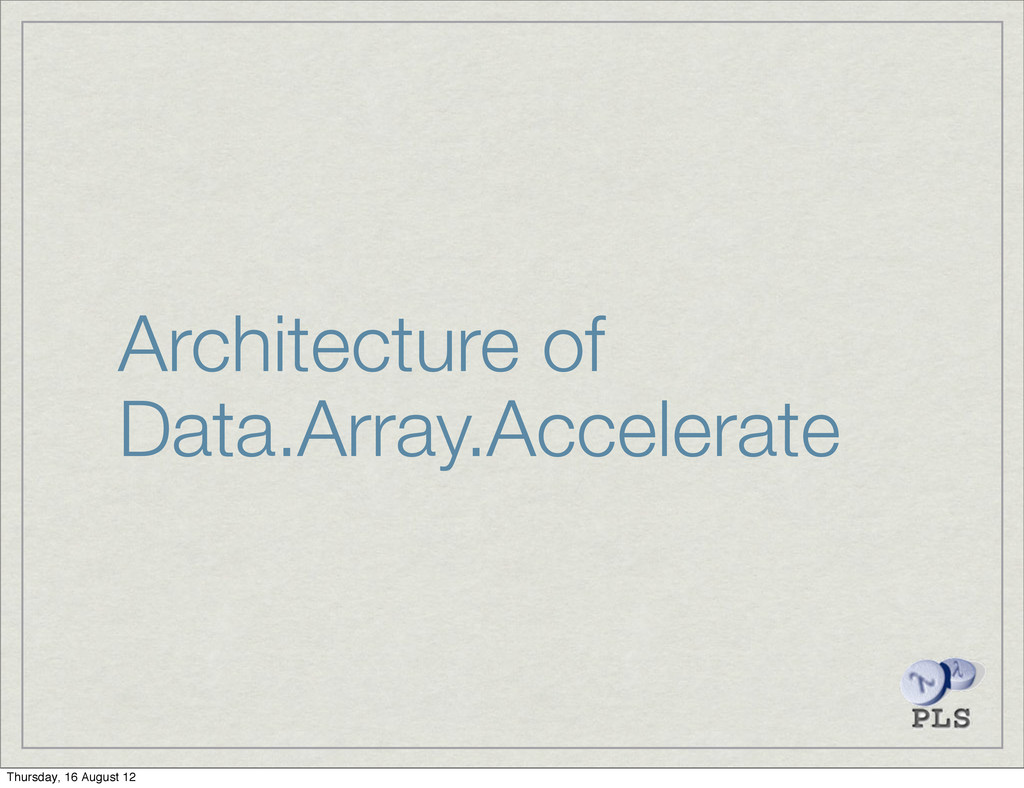 Architecture of Data.Array.Accelerate Thursday,...