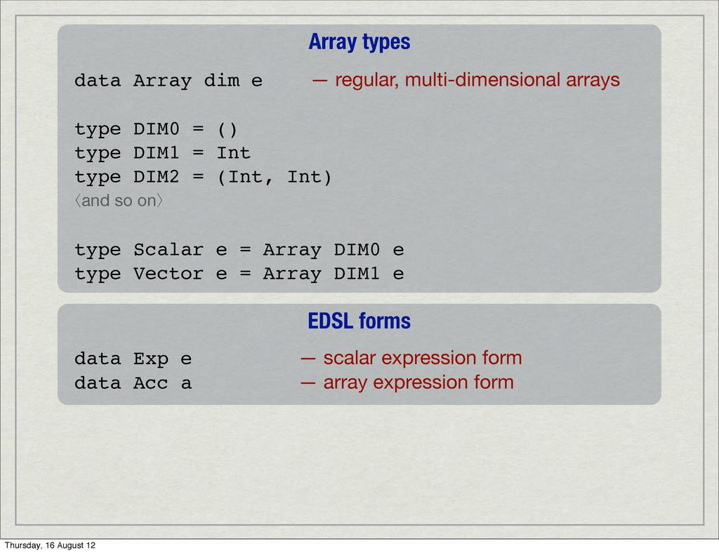 Array types data Array dim e — regular, multi-d...