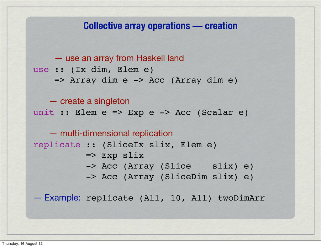 Collective array operations — creation — use an...