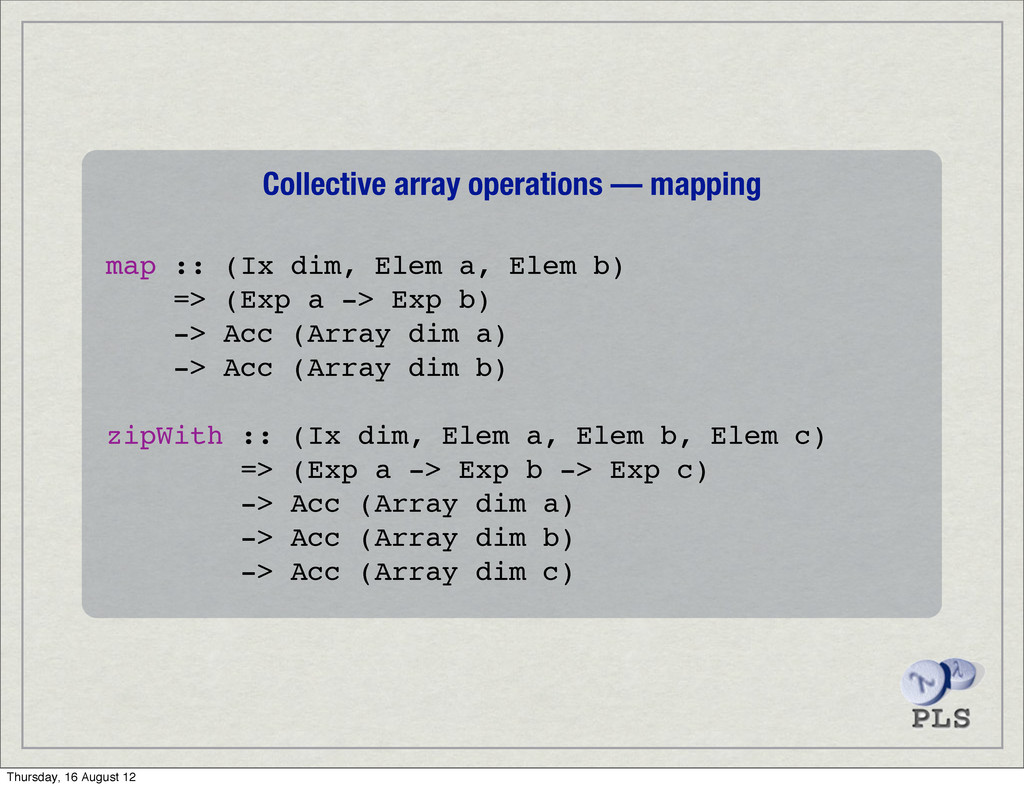 Collective array operations — mapping map :: (I...