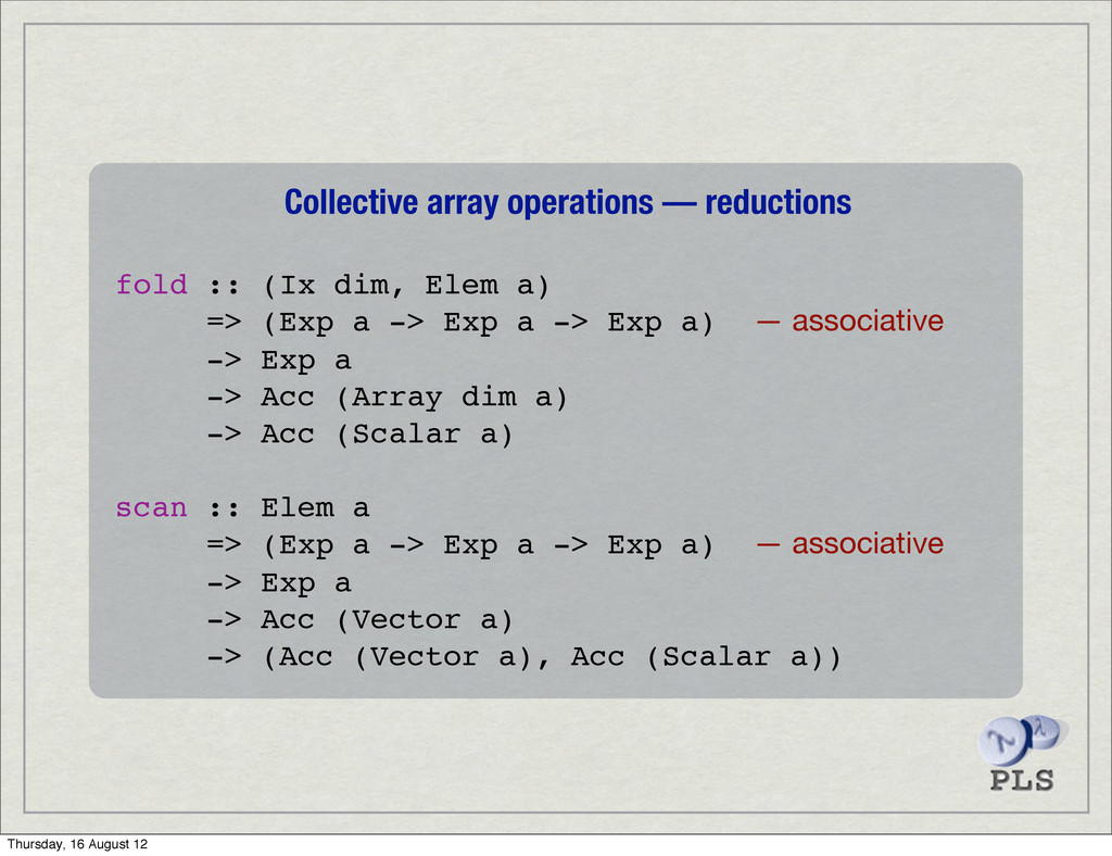 Collective array operations — reductions fold :...