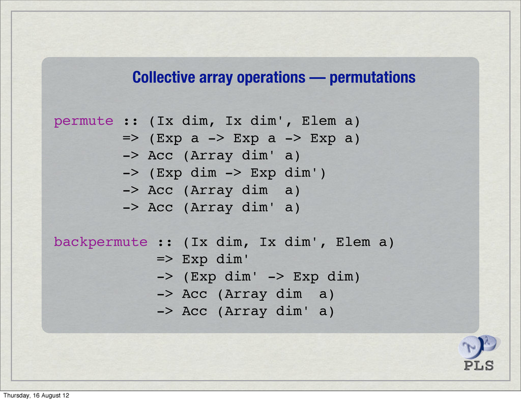 Collective array operations — permutations perm...