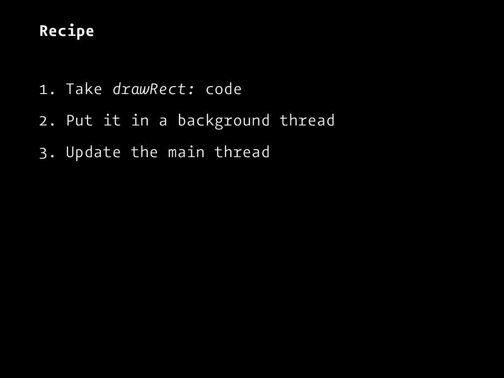 Recipe 1. Take drawRect: code 2. Put it in a ba...